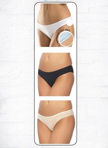 Anıl Kadın Pamuklu Bikini 3'Lü İz Belli Etmez Paket Slip Külot  Renkli